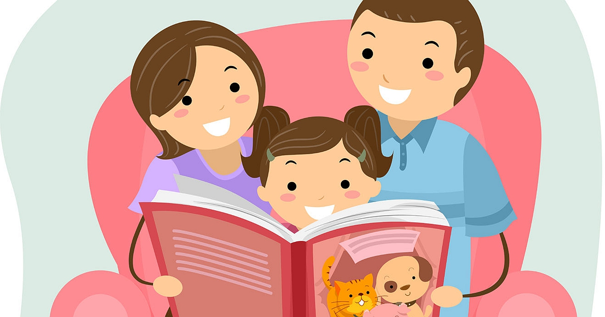 44984785 - stickman illustration of a family reading a book together