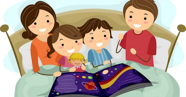 12325632 - illustration of kids listening to a bedtime story